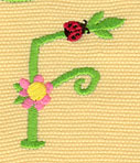 Embroidery Design: Ladybug Letters F  1.45w X 1.75h