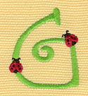 Embroidery Design: Ladybug Letters G  1.38w X 1.62h