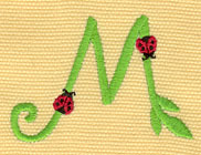 Embroidery Design: Ladybug Letters M  2.30w X 1.62h