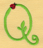 Embroidery Design: Ladybug Letters Q  1.60w X 2.04h