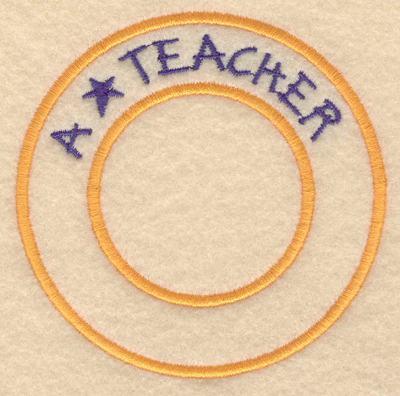 "Embroidery Design: A star teacher3.80""w X 3.80""h"