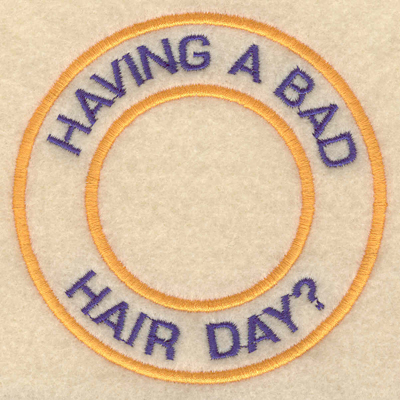 """Embroidery Design: Having a bad hair day3.80""""w X 3.80""""h"""