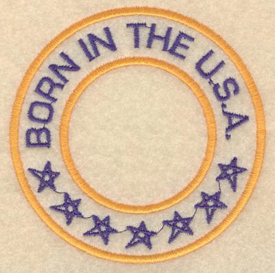"""Embroidery Design: Born in the USA3.80""""w X 3.80""""h"""
