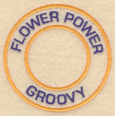 """Embroidery Design: Flower power groovy3.80""""w X 3.80""""h"""
