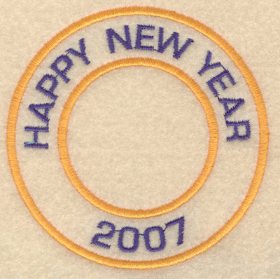 """Embroidery Design: Happy new year 20073.80""""w X 3.80""""h"""