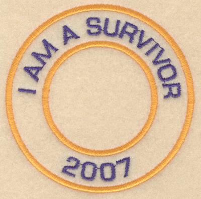 "Embroidery Design: I am a survivor 20073.80""w X 3.80""h"