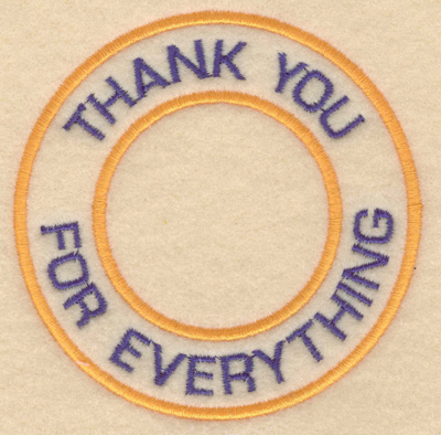 """Embroidery Design: Thank you for everything3.80""""w X 3.80""""h"""