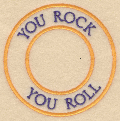 """Embroidery Design: You rock you roll3.80""""w X 3.80""""h"""