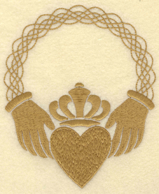Embroidery Design: Large Claddagh Heart4.53w X 5.45h