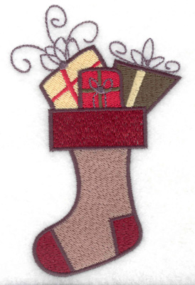 Embroidery Design: Stocking with gifts large 3.13w X 4.97h
