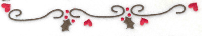 Embroidery Design: Hearts Mistletoe and swirls border 6.98w X 1.13h