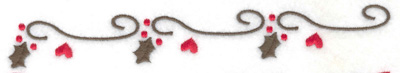 Embroidery Design: Mistletoe hearts and swirls border 6.99w X 0.93h