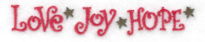 Embroidery Design: Love Joy Hope small 3.88w X 0.67h