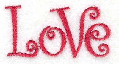 Embroidery Design: Love 2.66w X 1.36h