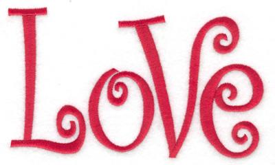 Embroidery Design: Love 6.02w X 3.51h