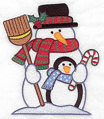 Embroidery Design: Snowman and penguin large 4.22w X 4.94h