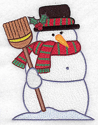 Embroidery Design: Snowman with broom large 3.87w X 4.94h