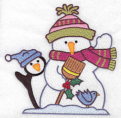 Embroidery Design: Snowman penguin and bluebird large 4.92w X 4.96h