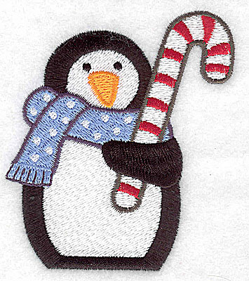 Embroidery Design: Penguin with candy cane large 3.05w X 3.51h