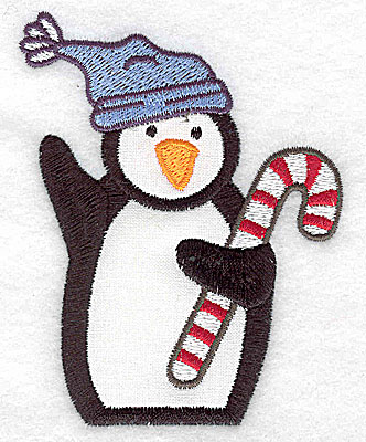 Embroidery Design: Penguin wearing toque applique 3.05w X 3.88h