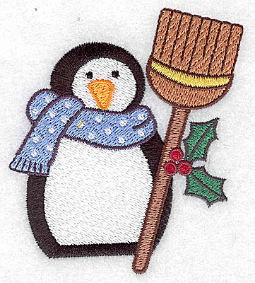 Embroidery Design: Penguin with broom 3.21w X 3.56h