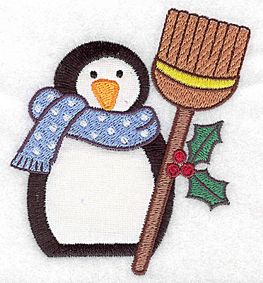 Embroidery Design: Penguin with broom applique 3.51w X 3.89h
