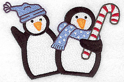 Embroidery Design: Penguin couple large 4.94w X 3.28h