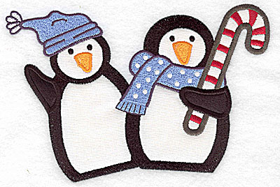 Embroidery Design: Penguin couple 2 appliques 6.98w X 4.60h