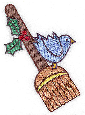 Embroidery Design: Broom with bluebird small 2.67w X 3.82h