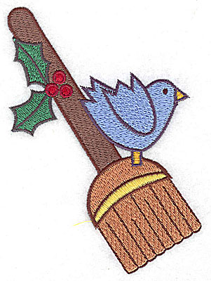 Embroidery Design: Broom with bluebird large 3.47w X 4.96h