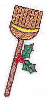 Embroidery Design: Broom with holly small 1.62w X 3.56h