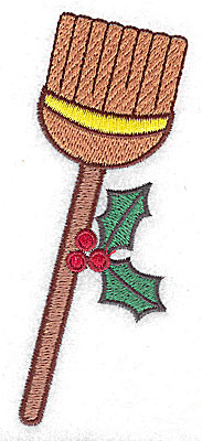 Embroidery Design: Broom with holly large 2.10w X 4.62h