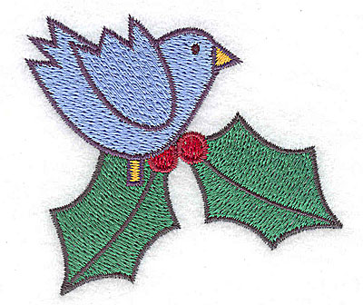 Embroidery Design: Bluebird with holly small 2.93w X 2.60h