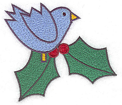 Embroidery Design: Bluebird with holly large 3.81w X 3.38h