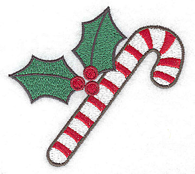 Embroidery Design: Candycane with holly large 3.73w X 3.45h