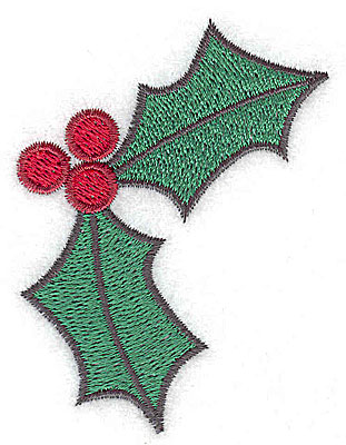 Embroidery Design: Holly with berries large 2.35w X 3.01h