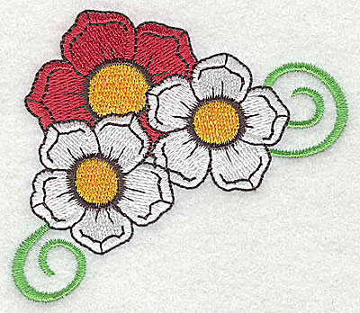 Embroidery Design: Flower trio with swirls large 3.30w X 2.87h