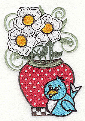 Embroidery Design: Flowers in vase with bluebird large 3.40w X 2.98h