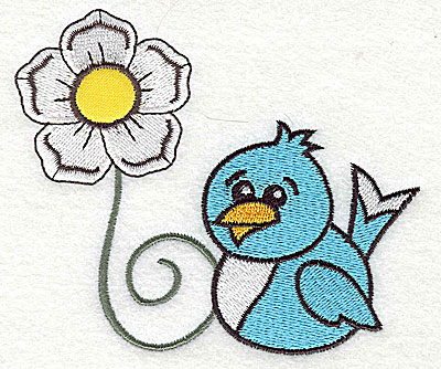 Embroidery Design: Single flower with bluebird large applique 4.45w X 3.76h
