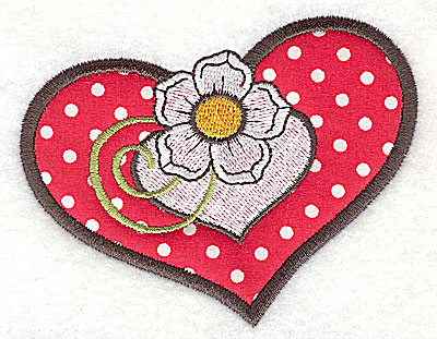 Embroidery Design: Flower in double heart applique 3.77w X 3.00h