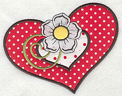 Embroidery Design: Flower in double hear 3 appliques large 6.25w X 4.89h