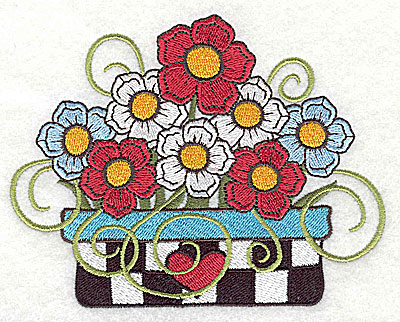 Embroidery Design: Flower in planter large 4.98w X 3.88h