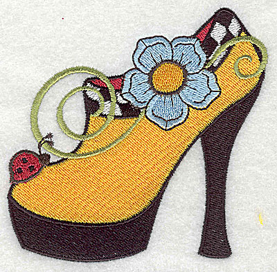 Embroidery Design: Flower and ladybug on women's shoe large 3.87w X 3.80h