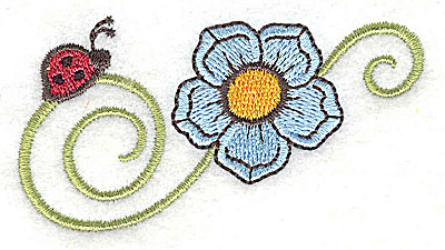 Embroidery Design: Ladybug and flower 3.01w X 1.63h