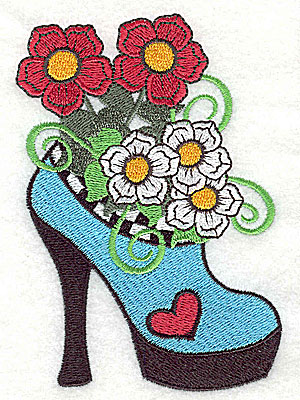 Embroidery Design: Woman's heel with flowers and heart large 3.19w X 4.53h