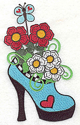 Embroidery Design: Woman's heel with flowers and butterfly 3.19w X 5.47h