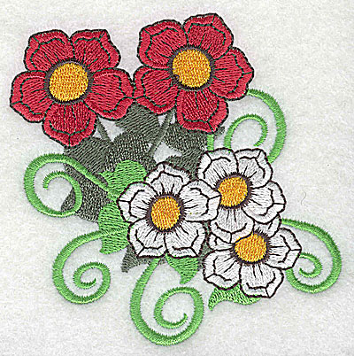 Embroidery Design: Flowers with swirls large 3.83w X 3.88h