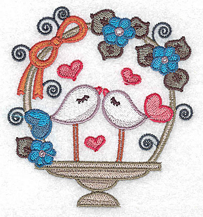 Embroidery Design: Birds in a basket with side bow small 3.55w X 3.86h