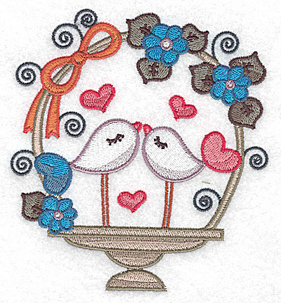 Embroidery Design: Birds in a basket with side bow large 4.57w X 4.98h