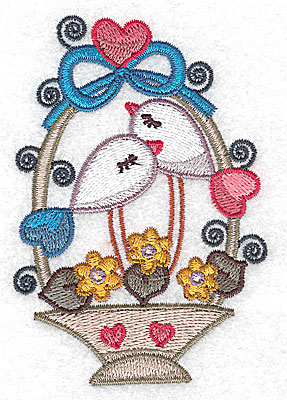 Embroidery Design: Birds in a basket with top bow and heart small 2.67w X 3.85h